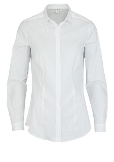 SEIDENSTICKER Slim Bluse Langarm Hemdkragen Popeline Stretch weiß - Hemden Meister