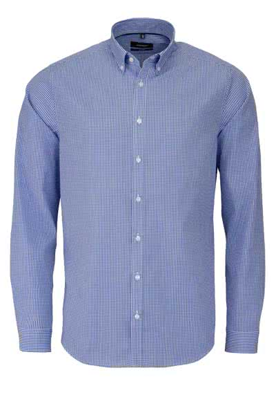 SEIDENSTICKER Tailored Hemd Langarm Button Down Kragen Karo mittelblau - Hemden Meister
