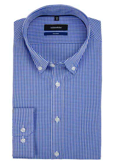 SEIDENSTICKER Tailored Hemd Langarm Button Down Kragen Karo mittelblau