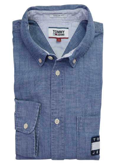 TOMMY JEANS Regular Fit Hemd Langarm Button Down Chambray blau
