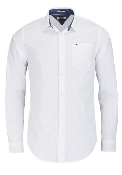 TOMMY JEANS Regular Fit Hemd Langarm Logo-Stick weiß - Hemden Meister