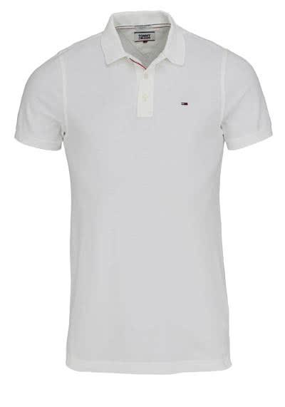 TOMMY JEANS Polo-Shirt Halbarm geknöpft mit Logostick weiß - Hemden Meister
