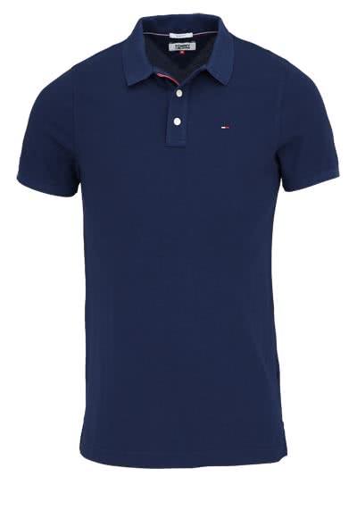 TOMMY JEANS Polo-Shirt Halbarm geknöpft mit Logostick dunkelblau - Hemden Meister