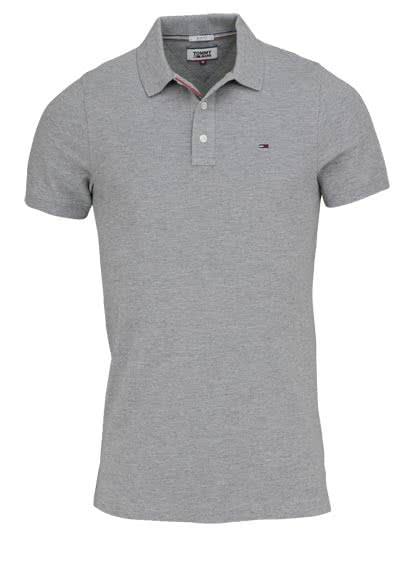 TOMMY JEANS Polo-Shirt Halbarm geknöpft mit Logostick mittelgrau - Hemden Meister
