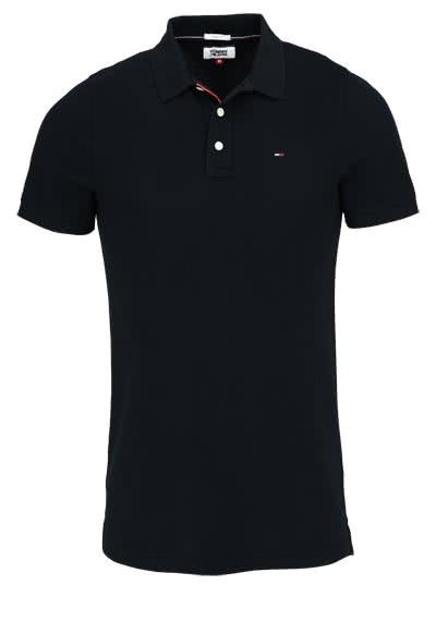 TOMMY JEANS Polo-Shirt Halbarm geknöpft mit Logostick schwarz - Hemden Meister