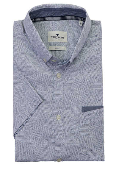 TOM TAILOR Hemd Halbarm Button Down Kragen Muster blau