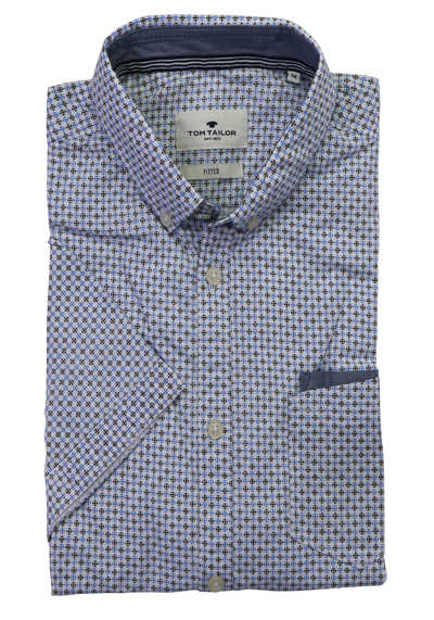 TOM TAILOR Hemd Halbarm Button Down Kragen Muster blau