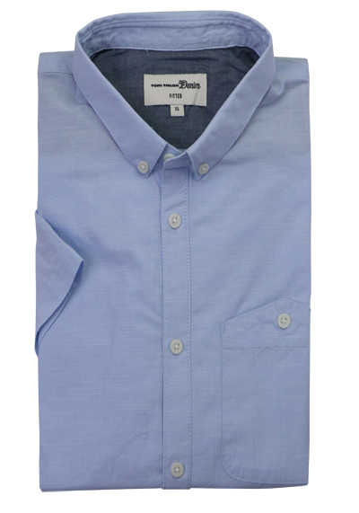 TOM TAILOR Hemd Halbarm Button Down Kragen Struktur hellblau