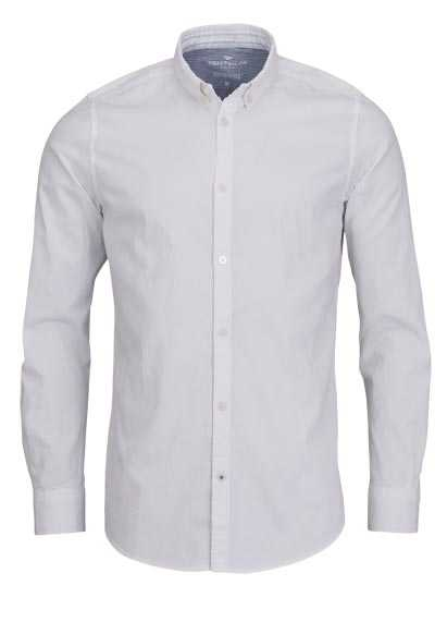 TOM TAILOR Hemd Langarm Button Down Kragen Baumwolle weiß