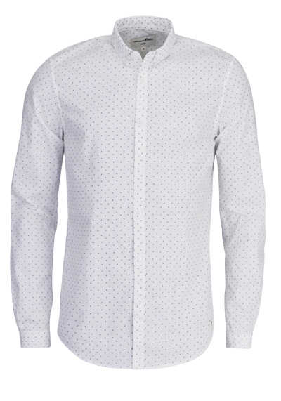 TOM TAILOR Hemd Langarm Button Down Kragen Muster Stretch weiß