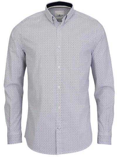 TOM TAILOR Hemd Langarm Button Down Kragen Muster weiß