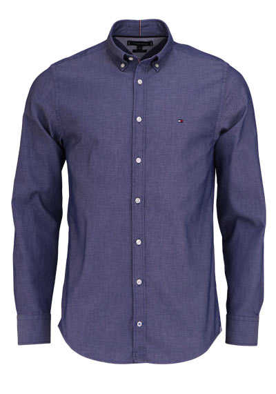 TOMMY HILFIGER Regular Fit Hemd DOBBY Langarm Button Down Kragen navy preisreduziert