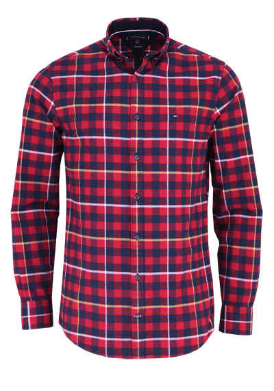TOMMY HILFIGER Regular Fit Hemd GINGHAM Langarm Karo blau
