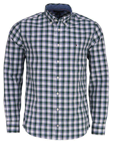 TOMMY HILFIGER Regular Fit Hemd Langarm Button Down Karo Kragen grün