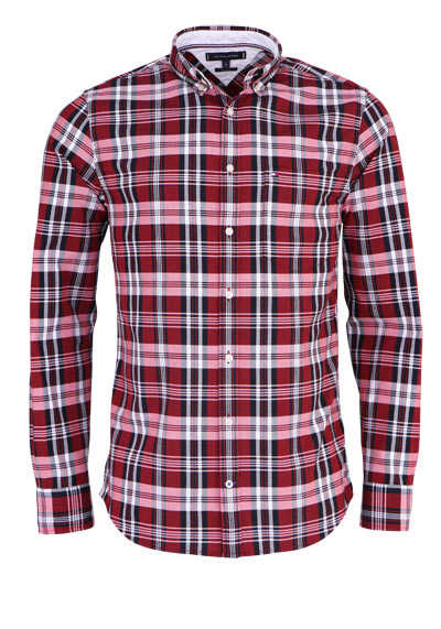 TOMMY HILFIGER Regular Fit Hemd Langarm Button Down Kragen Karo rot