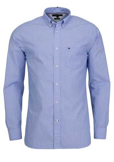 TOMMY HILFIGER Regular Fit Hemd Langarm Button-Down Kragen hellblau