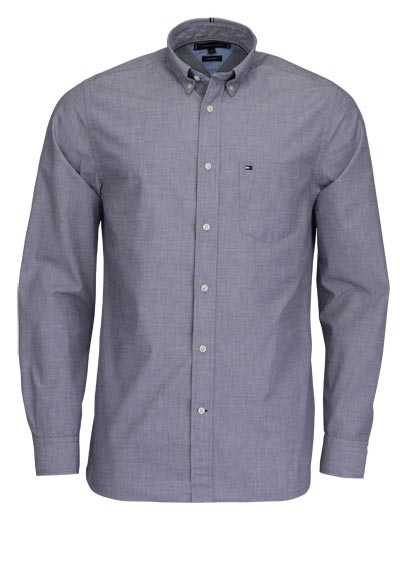 TOMMY HILFIGER Regular Fit Hemd Langarm Button-Down Kragen rauchblau