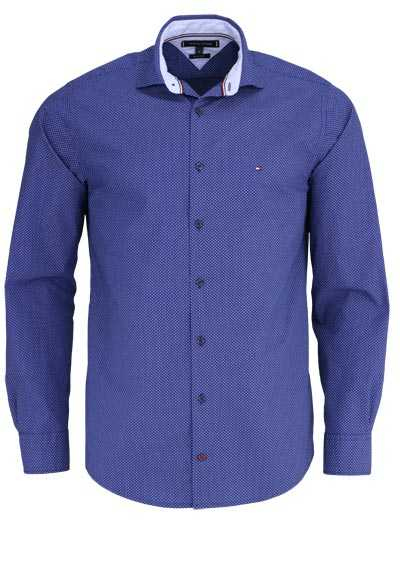 TOMMY HILFIGER Regular Fit Hemd New Kent Kragen Muster blau
