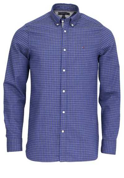 TOMMY HILFIGER Slim Fit Hemd Langarm Button-Down-Kragen Karo blau