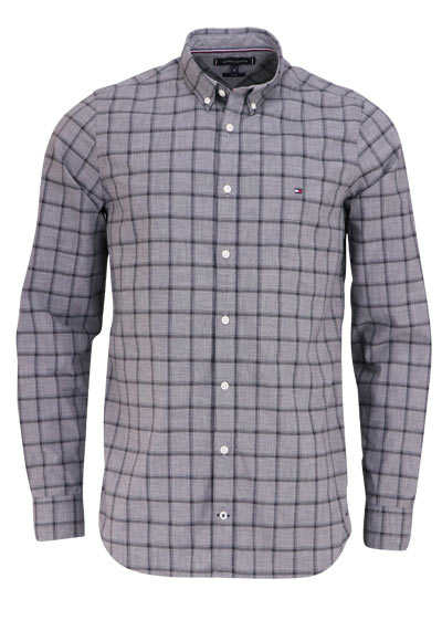 TOMMY HILFIGER Slim Fit Hemd WINDOWPANE Langarm Karo grau