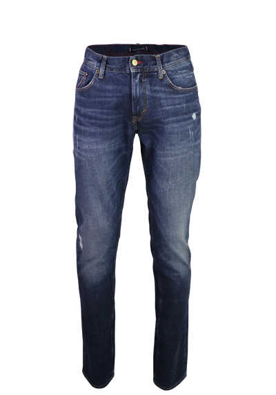 TOMMY HILFIGER Slim Fit Jeans BLEECKER 5 Pocket destroy dunkelblau