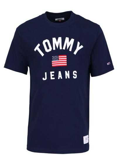 TOMMY JEANS Halbarm T-Shirt Rundhals Applikation navy