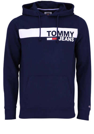 TOMMY JEANS Langarm Hoodie Kapuze Schrift-Print navy