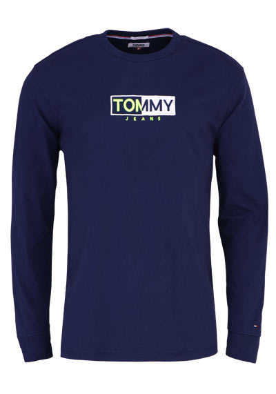 TOMMY JEANS Langarm Shirt Rundhals Schrift-Stick-Detail navy