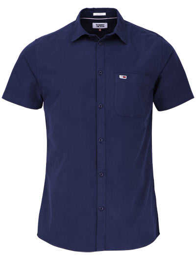 TOMMY JEANS Regular Fit Hemd Halbarm New Kent Kragen navy preisreduziert