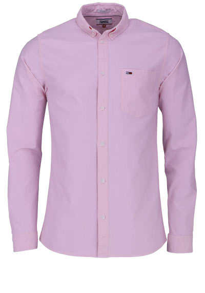 TOMMY JEANS Regular Fit Hemd Langarm Button Down Kragen rosa