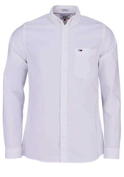 TOMMY JEANS Regular Fit Hemd Langarm Button Down weiß