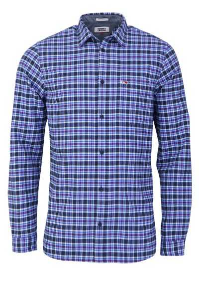 TOMMY JEANS Regular Fit Hemd Langarm Haifisch Flanell Karo blau/lila