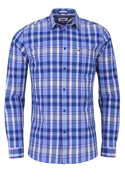 TOMMY JEANS Regular Fit Hemd Langarm New Kent Karo blau