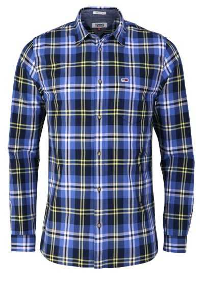 TOMMY JEANS Regular Fit Hemd Langarm New Kent Kragen Karo blau