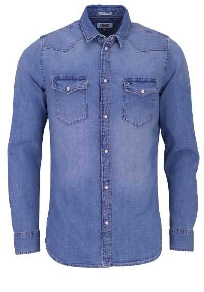 TOMMY JEANS Regular Fit Hemd Langarm Used mittelblau