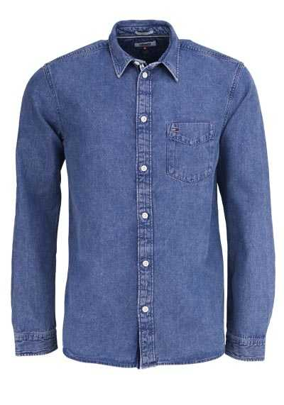 TOMMY JEANS Relaxed Fit Hemd CLEAN DENIM New Kent mittelblau