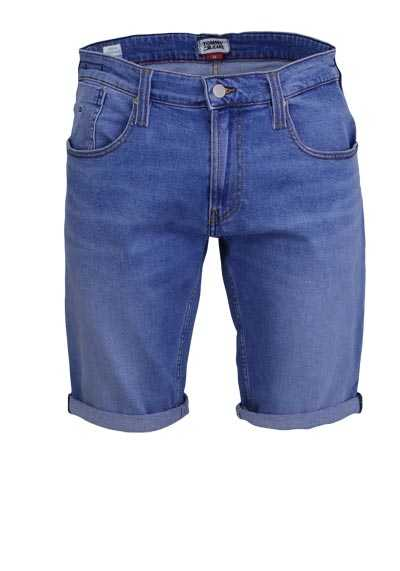 TOMMY JEANS Slim Fit Jeans-Shorts RONNIE Used 5 Pocket mittelblau