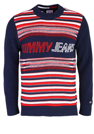 TOMMY JEANS Strickpullover Langarm Rundhals Muster blau
