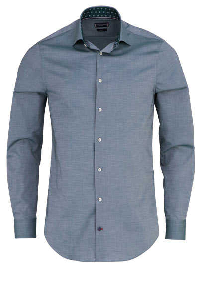 TOMMY TAILORED Slim Fit Hemd Langarm Haifischkragen Chambray oliv