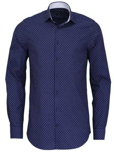 TOMMY TAILORED Slim Fit Hemd extra langer Arm Muster blau