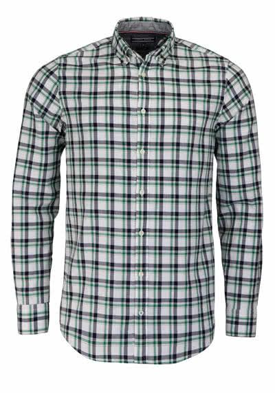 TOMMY HILFIGER Slim Fit Hemd Langarm Button Down Kargen Karo grün - Hemden Meister