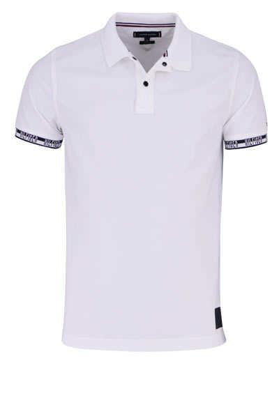 TOMMY HILFIGER Halbarm Poloshirt BADGE geknöpft weiß - Hemden Meister