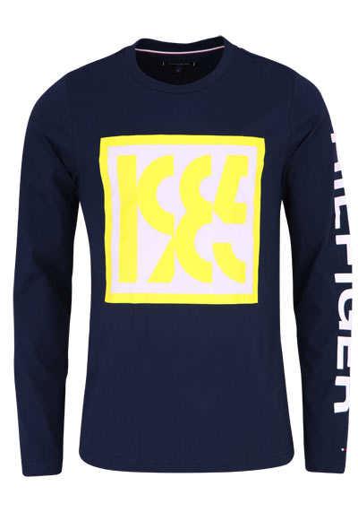 TOMMY HILFIGER Langarm Shirt Rundhals Logo-Statement-Print nachtblau - Hemden Meister