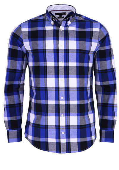 TOMMY HILFIGER Regular Fit Hemd Langarm Button Down Kragen Karo blau - Hemden Meister