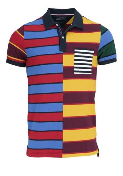 TOMMY HILFIGER Halbarm Poloshirt Polokragen Brusttasche Muster rot - Hemden Meister