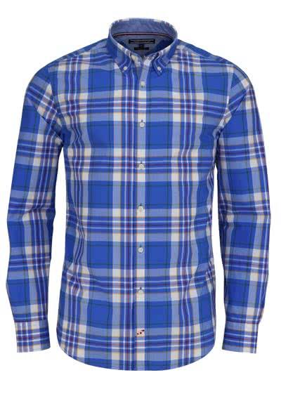 TOMMY HILFIGER Regular Fit Hemd Langarm Muster blau - Hemden Meister