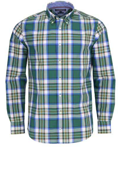 TOMMY HILFIGER Regular Fit Hemd Langarm Muster grün - Hemden Meister