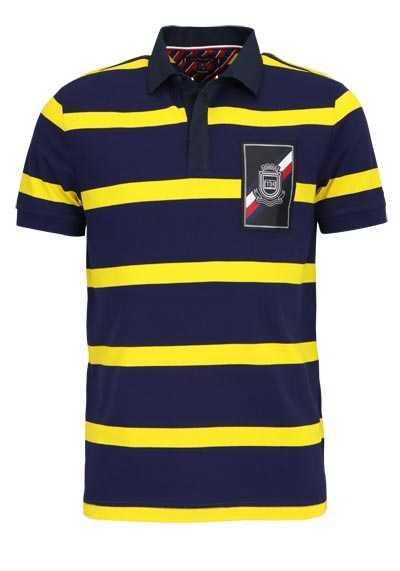 TOMMY HILFIGER Halbarm Poloshirt Polokragen geknöpft Ringel gelb - Hemden Meister
