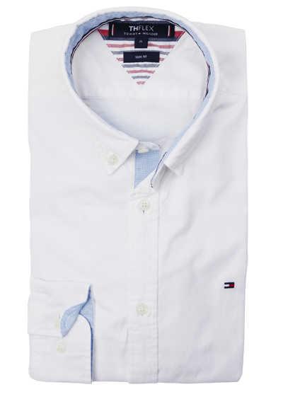 TOMMY HILFIGER Slim Fit Hemd Langarm Button Down Kragen Stretch Muster weiß