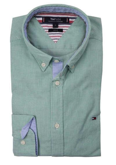 TOMMY HILFIGER Slim Fit Hemd Langarm Button Down Kragen Stretch Muster hellgrün